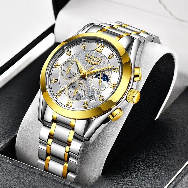 LIGE Fashion Women Watches Ladies Brand Luxury Stainless Steel Calendar Sport Quartz Watch Women Waterproof Watch Montre Femme 5