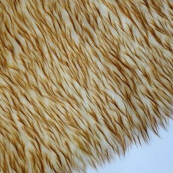 160*100cm fluffy fourrure beige dyed tip artificial plush faux fur fabric for coat pillow case vest fausse fourrure tissu фото