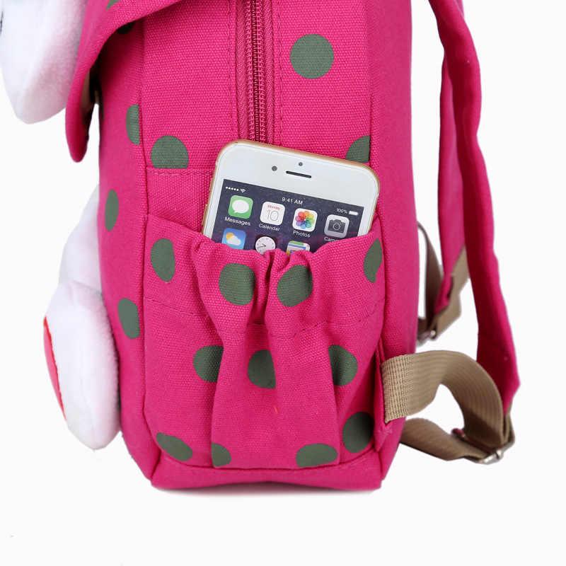 Nova venda quente bonito 3d dot coelho criança mochila softback coreano mini schoolbag crianças do jardim de infância do bebê meninas presentes mochila 1-3