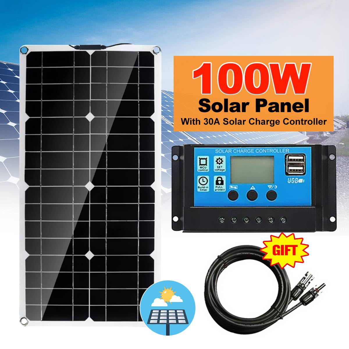 100W Solar Panel Dual USB 18V Solar Power Panels+Line+30A Solar Charge Controller For Outdoor Camping Car Boat Solar Battery