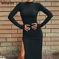 InstaHot/осеннее женское платье с длинным рукавом, с разрезом, сексуальные, элегантные, вечерние, офисные, женские, тонкие, однотонные, черные, кр...