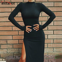 InstaHot – robe fendue à manches longues pour femme, Sexy, élégante, soirée, bureau, Slim, couleur unie, noir, rouge, longueur aux genoux, collection automne 2020