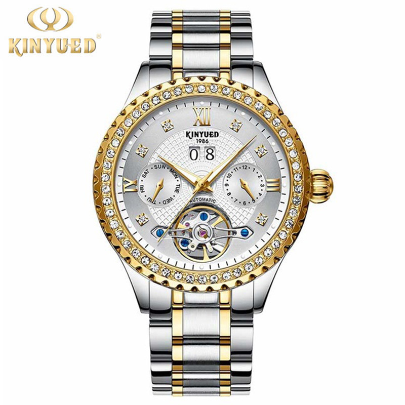 Top Brand Luxury Kinyued Mens Automatic Mechanical Watches Gold Black Tourbillon Watch Men Auto Date relogio automatico homem
