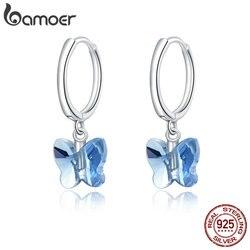 bamoer Genuine 925 Sterling Silver Crystal Butterfly Stud Earrings for Women silver Jewelry 2020 Brincos wedding Earring SCE959