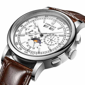 Famous brand 42mm CORGEUT white dial date day coffee leatherstrap multifunction automatic mens Watch solid stainless steel case