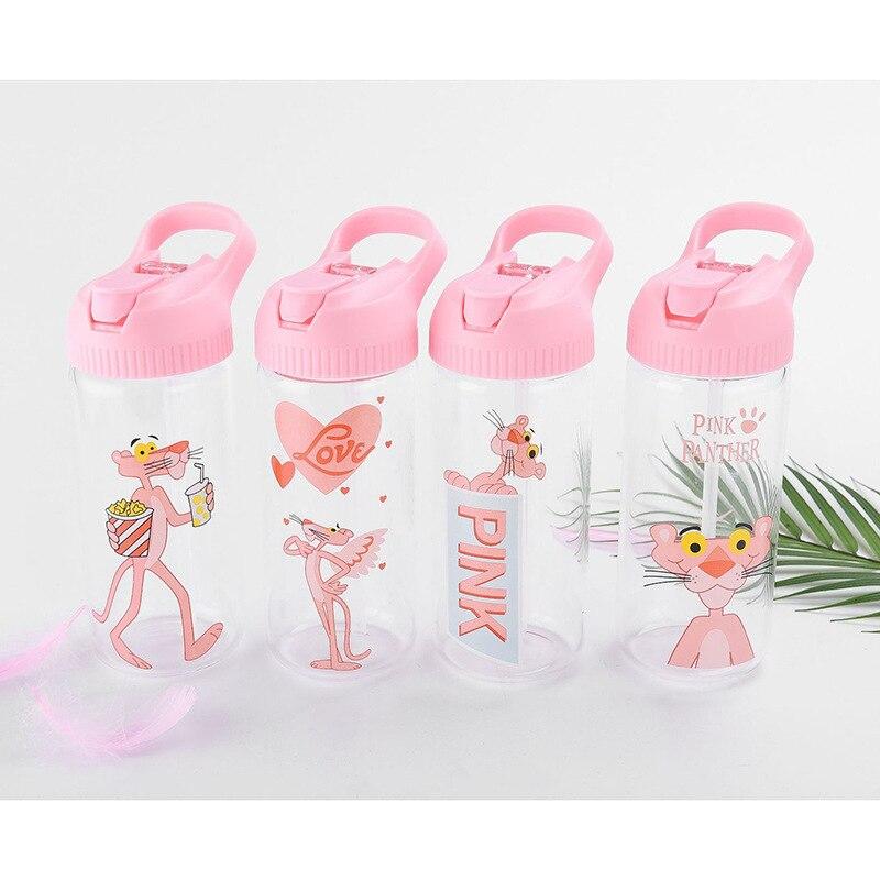 Cartoon pink leopard fresh cute glass portable straw net red water cup girl heart