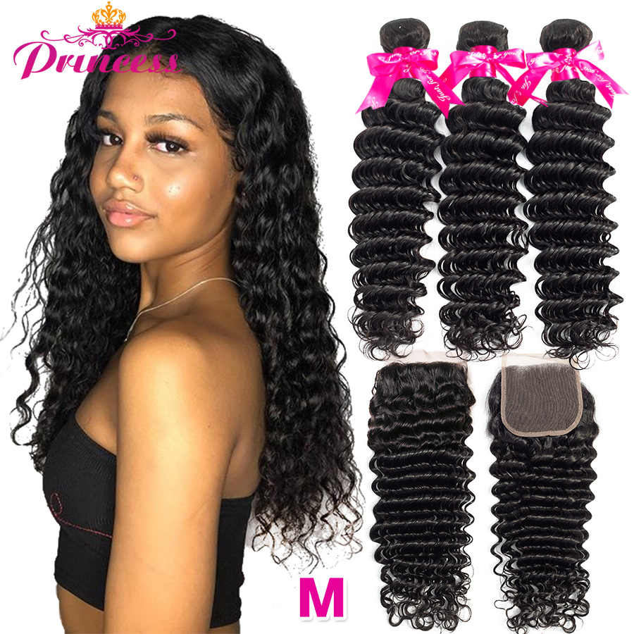 Princess Hair Deep Wave Bundles With Closure Double Weft Human Hair Brazilian Hair Weave 3 Bundles With Closure RemyMedium Ratio