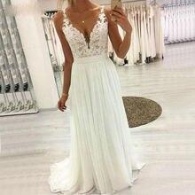 Платье Свадебное шифоновое с аппликацией пикантное длинное кружевное