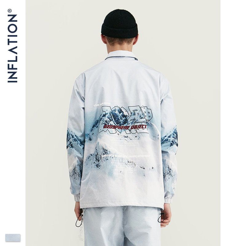 Image 4 - INFLATION 2020 DESIGN Casual Loose Fit Blazer with Print  White Color Streetwear Men Suit Fashion Style  Terno Masculino BlazersMens Sets   -