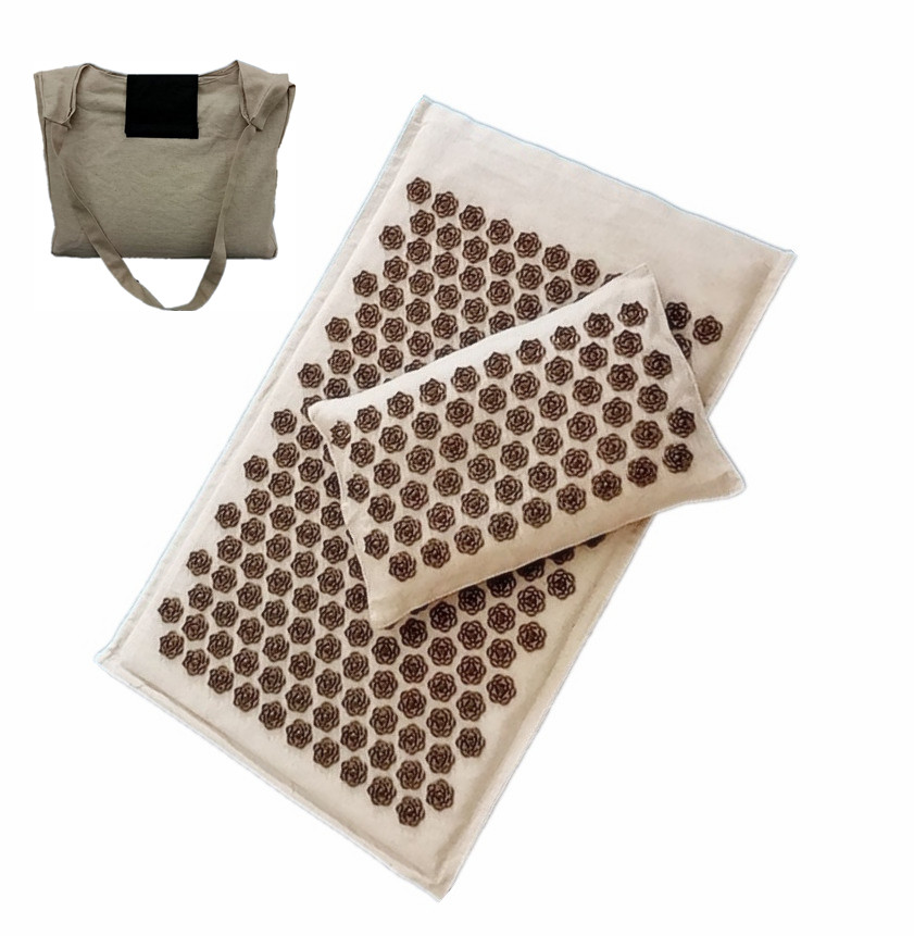 Lotus Spike Acupressure Mat Acupuncture Cushion/Pillow Health Care Massager Tool Mat Carry Bag