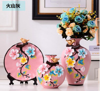 3pcs for one set Ceramic vase Europe handmade flower wedding vases for flowers home decoration desk accessories plant holder