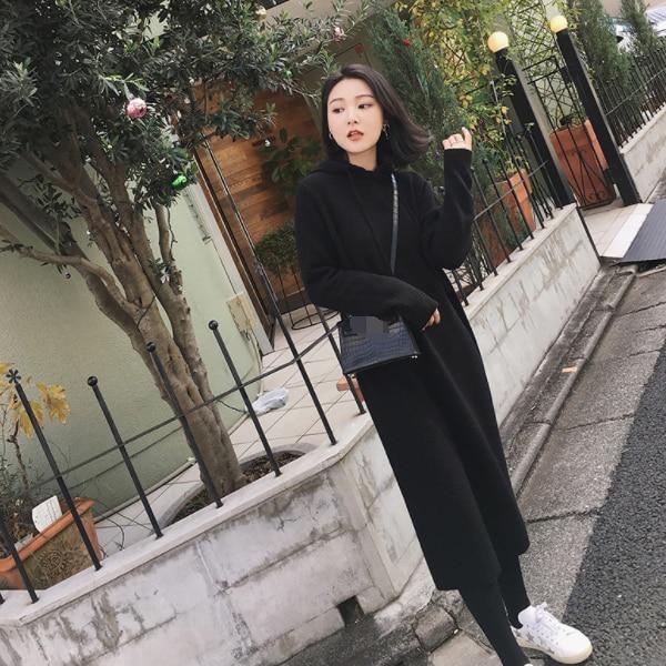 Áo Len Nữ Dài Đầm 2019 Thu Đông Chắc Chắn Quần Áo Hàn Quốc Đan Plus Size XL Rời Nữ ĐầM AQ858