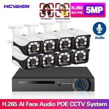 H.265+ 8CH 5MP POE Hi3516E300 NVR Face record&Playback Kit CCTV Security System 5MP IR POE IP Camera P2P Video Surveillance Set