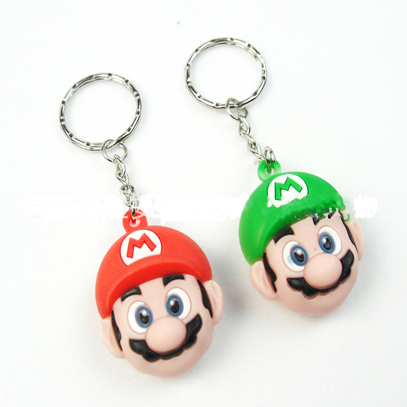 6CM Super Mario Action Figure Cartoon Key Ring 3D PVC Mario Luigi Key Chain Toy Doll Pendants Keychain Car Key Ring Holder