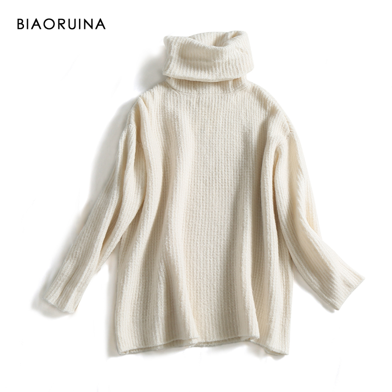 REJINAPYO 15 Color Women Fashion Solid Casual Knitted Sweater Female Turtleneck Oversized Pullover Ladies Elegant Loose Sweater 2