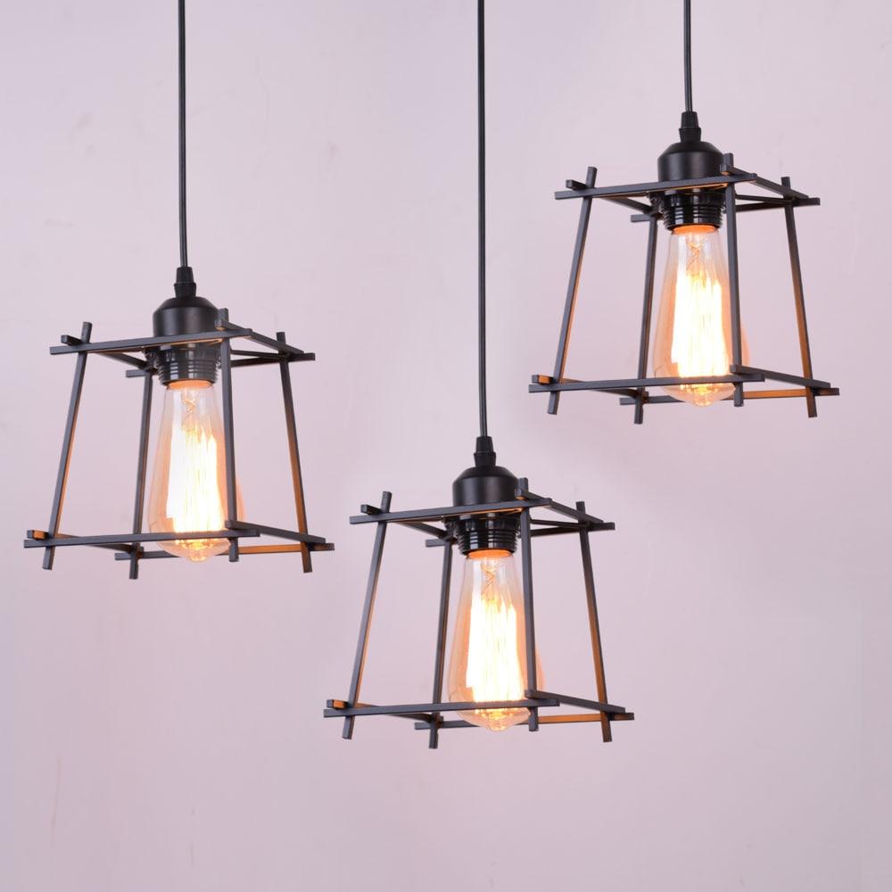 Black Iron Hanging Cage Edison Filament