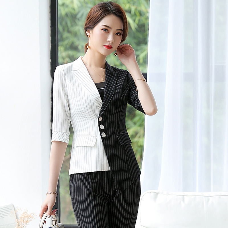 Spring And Autumn Office Professional Women Pants Suits 2020 New Black And White Striped Stitching Ladies Blazer Casual Trousers