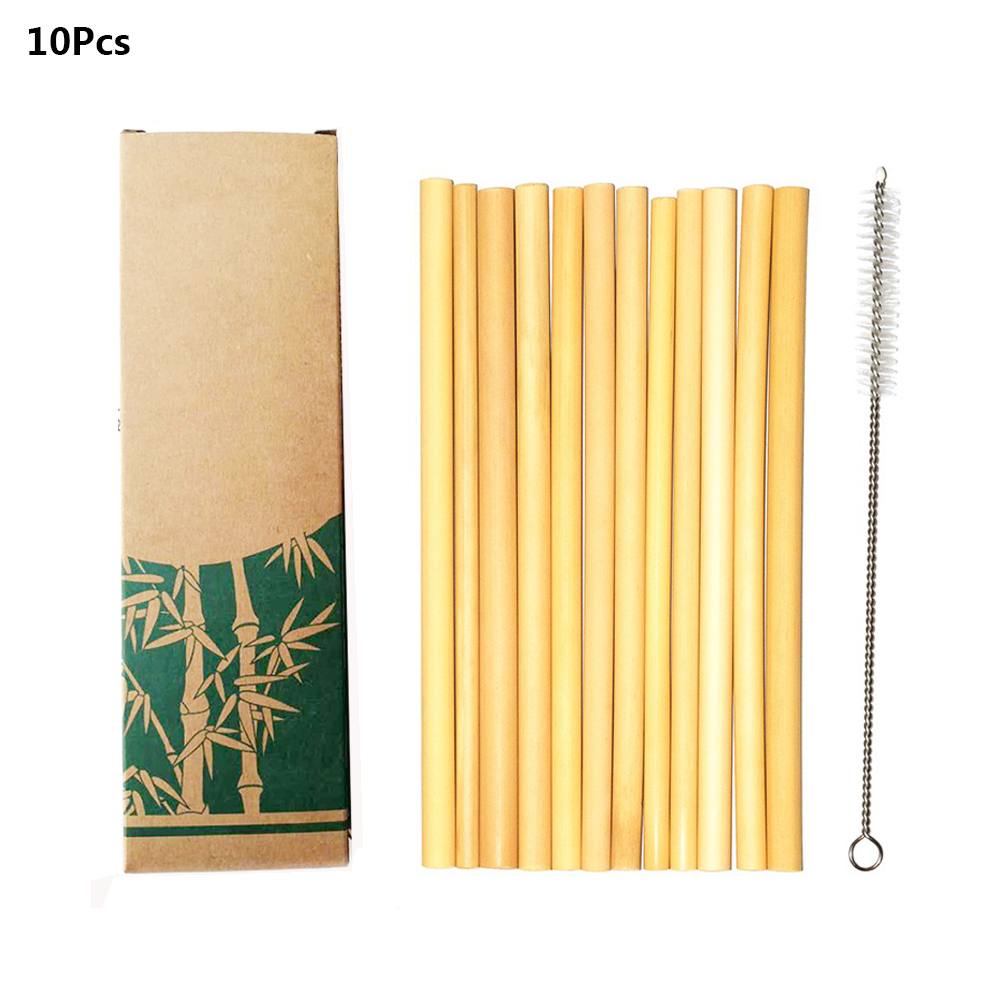 10Pcs/set Bamboo Drinking Straws Reusable Eco-Friendly Party Kitchen With Clean Brush For Drop Shipping Wholesale