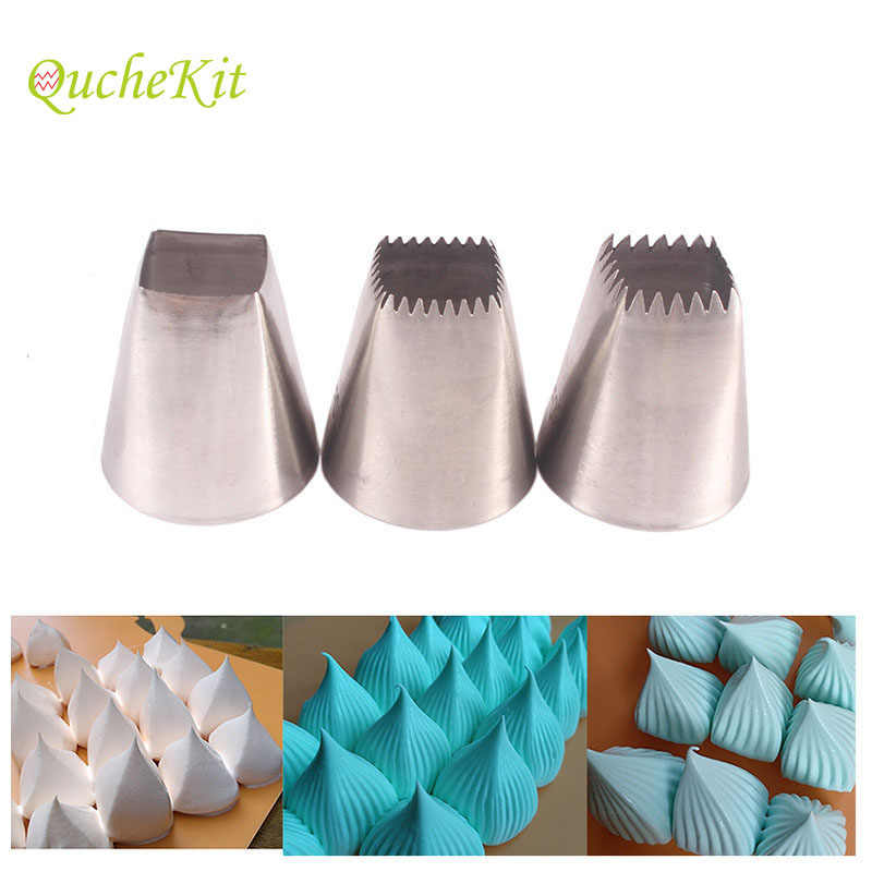 3pcs Pastry Icing Piping Nozzles Square Cake Design Cream Tips Cake Decorating Pastry Tip Sets Fondant Cake Decorating Tools