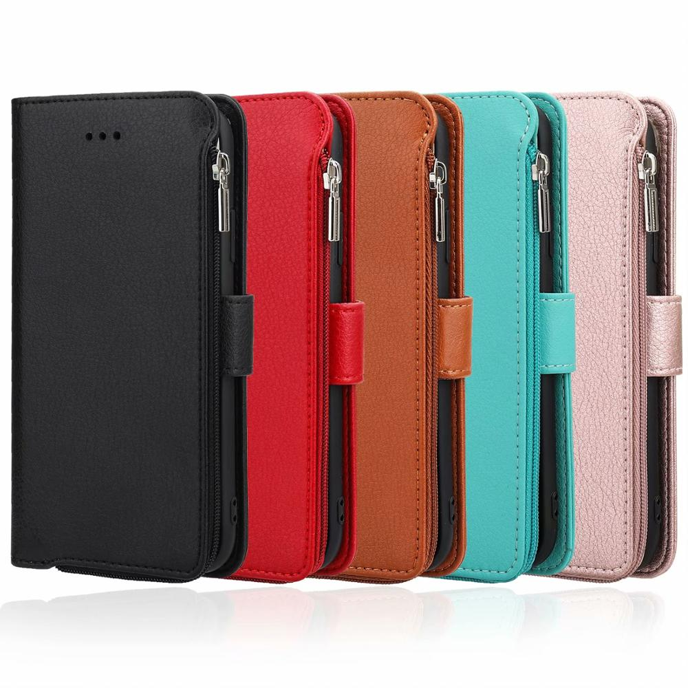Strap Flip Stand Zipper Purse <font><b>Case</b></font> For Samsung <font><b>Galaxy</b></font> S20+ A51 A71 Note10 A50 Microfiber <font><b>Leather</b></font> Wallet Credit Bank Cardt Cover image