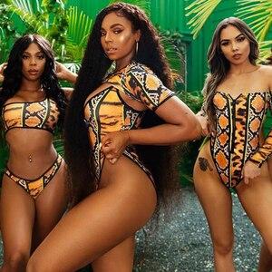 Image 2 - 2020 yeni seksi fermuar afrika baskılı iki parçalı mayo tek parça mayo kadınlar yüksek kesim tanga brezilyalı artı boyutu mayo