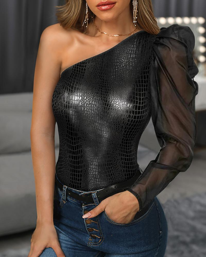 Women Sexy One Shoulder Mesh Patchwork Faux Leather Blouse