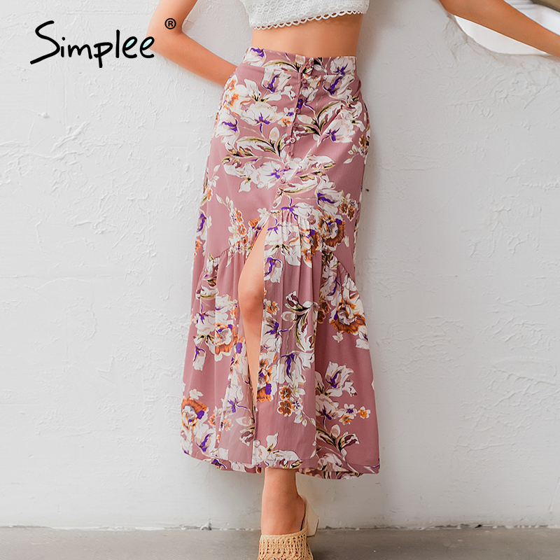 Simplee High Waist Floral Print Women Long Skirt Buttons Split Female A-line Summer Skirts Holiday Beach Ladies Skirts Bottoms