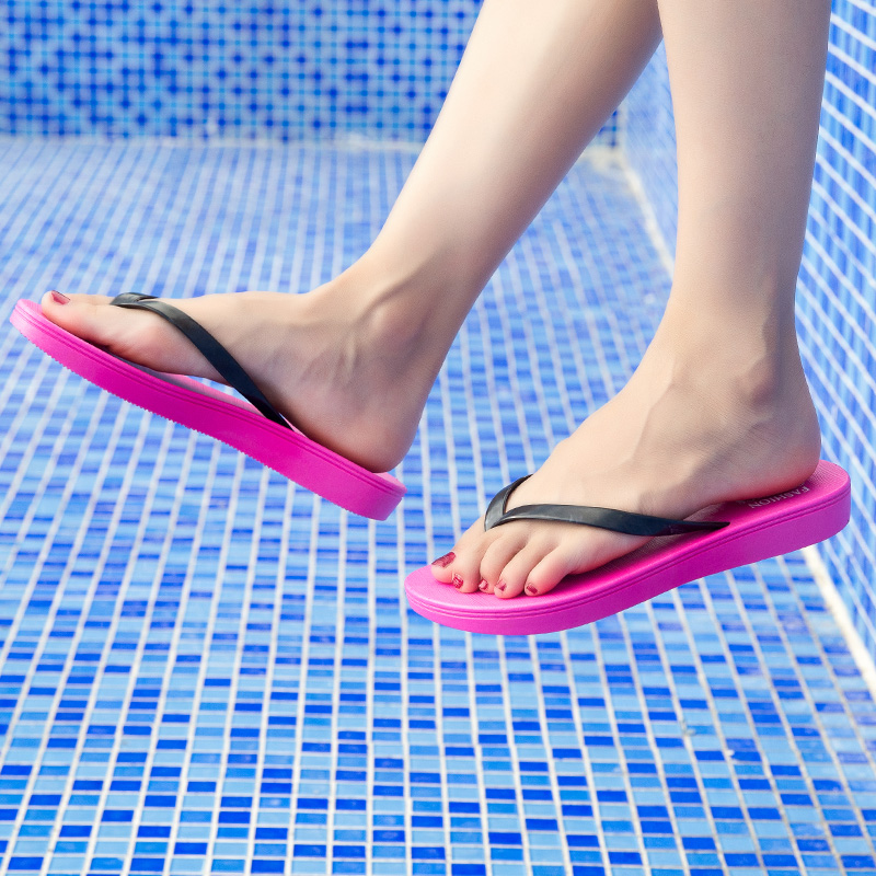 Womens Summer Slip-on Shoes Anti-slip Hard-wearing Fashion Leisure PVC Rubber Slippers Beach Swimming Indoor T-tied Flip Flops 5