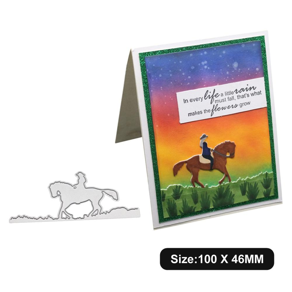 <font><b>Horse</b></font> Riding Dies For Card Making,URYKE <font><b>Metal</b></font> Die Cuts Die Cut for DIY Embossing Stencil Scrapbooking Birthday Decor New 2020 image