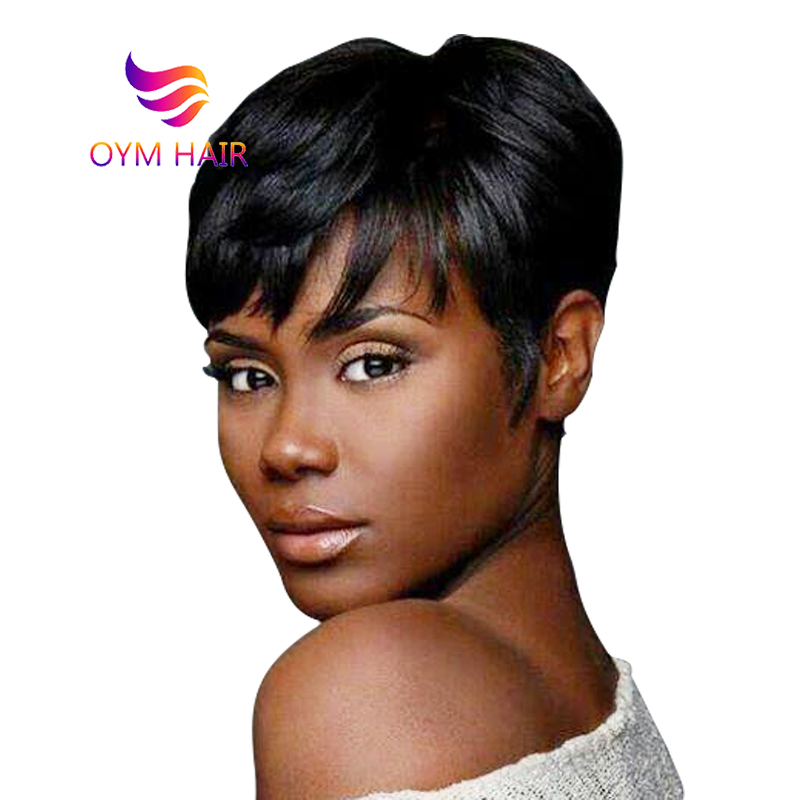 OYM HAIR Brazilian Pixie Cut Wig Human Hair Wig Remy Cheap Short Straight Human Hair Wigs For Black Women 150% Free Shipping