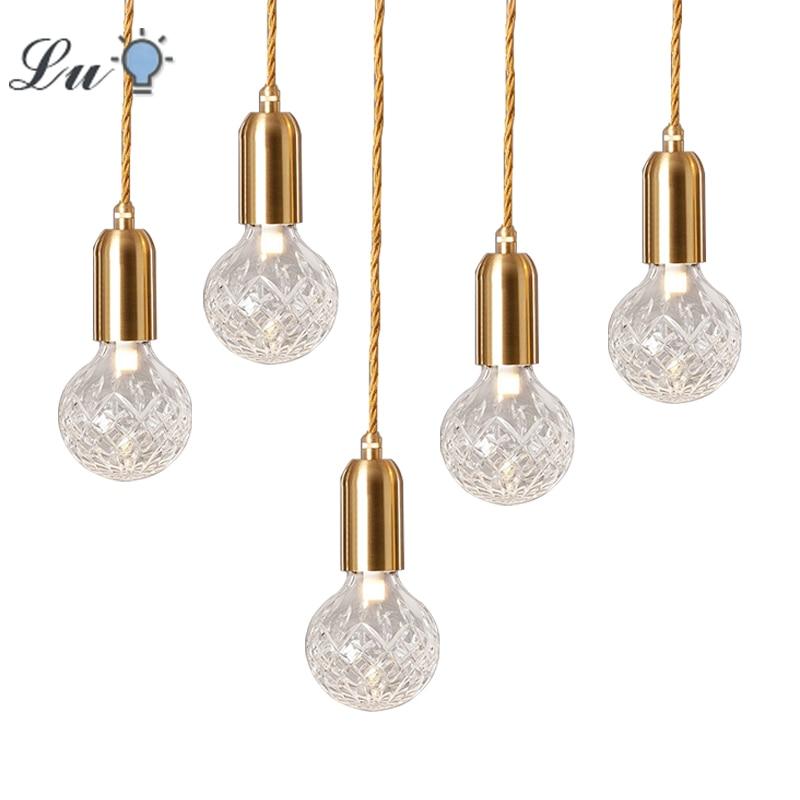 LED Pendant Lights Vintage Loft Style Hanging Lamp Glass Light Nordic Modern Suspension Kitchen Restaurant Lighting Fixtures G9