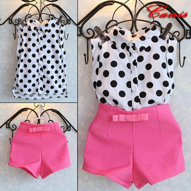 1-6Y Baby Girls Tops Shorts Sleeveless Polka Dot T-Shirt Pink Pants Kids Outfits
