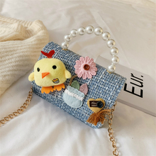 Fashion Lovely Children Mini Crossbody Bags Wool Plaid Pearl Handle Baby Girls Small Shoulder Bag Kids Coin Purse Box Wallet