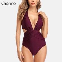 цена на Charmo Swimsuit Women Swimwear Monokini One-piece Backless V-Neck Print Bathing Suit Deep Plunge Beachwear
