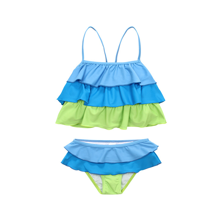 Girls Split Type Swimsuit Color Multilayer Ultra-stretch Quick-Dry Beach Swimwear Currently Available 2-6-Year-Old A Generation