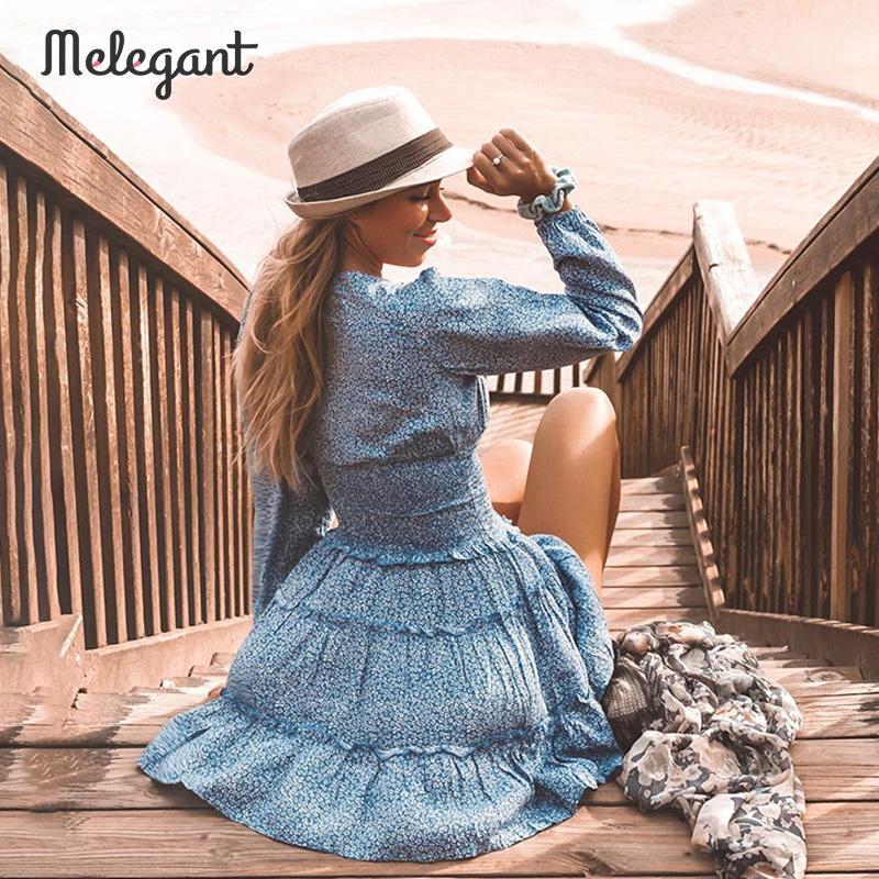 Melegant พรรค Ruffle VINTAGE ผู้หญิงชุดแขนยาวหญิงฤดูใบไม้ร่วง 2019 ฤดูหนาวชุดภาษาฝรั่งเศสคำ Elegant Dresses Vestidos