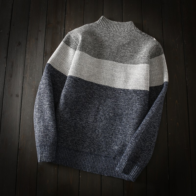Autumn Winter Thick Fleece Liner Mens Warm Sweaters Casual Long Sleeve Zipper Stand Collar Panelled Striped Male Open Stitch