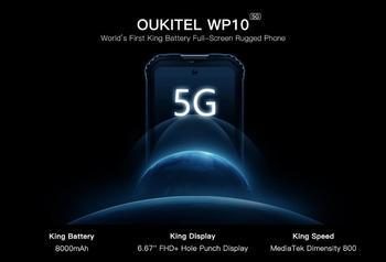 OUKITEL-teléfono móvil resistente WP10 de 8000mAh Pantalla Completa FHD de 6,67 pulgadas, 5G, LPDDR4X 8GB, 128GB, UFS2.1, MeditaTek Dimensity 800, Triple Camer de 48MP