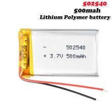 Bateria recarregável do polímero do lítio de 3.7v 500mah 502540 para o banco de potência da lâmpada da indução mp4 mp5 que conduz o registrador li ion li-po pilha