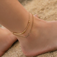 Hello Miss New foot decoration creative retro double bead fashion ladies anklet summer hot jewelry