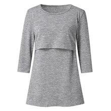 цена Long Sleeve Breastfeeding Clothes for Pregnant Women Spring Nursing Top Maternity T Shirt Pregnancy Tee Shirt Top Solid