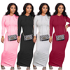 HAOYUAN Sexy Knitted Bodycon Maxi Dress Long Sleeve Hoodies Fall Clothes for Women Outfit Streetwear Birthday Night Club Dresses 5
