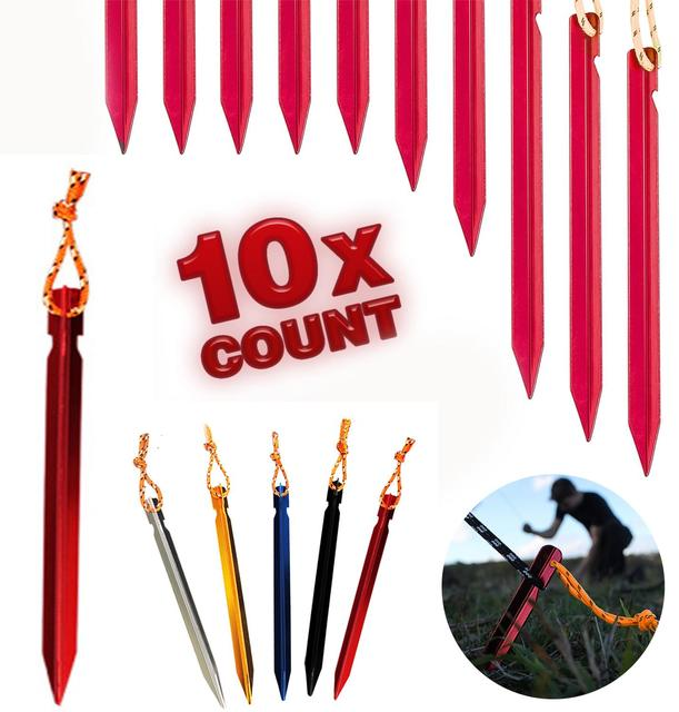10 PCS Tent Stakes with Rope Tent Accessories Camping Equipment Outdoor Travel 18cm Tent Pegs Nail 1