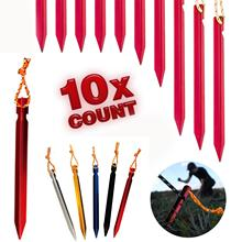 10 PCS Tent Stakes with Rope Tent Accessories Camping Equipment Outdoor Travel 18cm Tent Pegs Nail