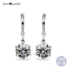 Shipei 100% 925 Sterling Silve Fine Jewelry White Gold 7mm Round Sapphire Drop Dangle Earrings for Women Birthday Gift
