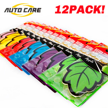 12pcs/lot Auto Shine Paper Hanging Car Air Freshener Vanilla perfume/fragrance Leaf Shape Free Shipping Air Freshener