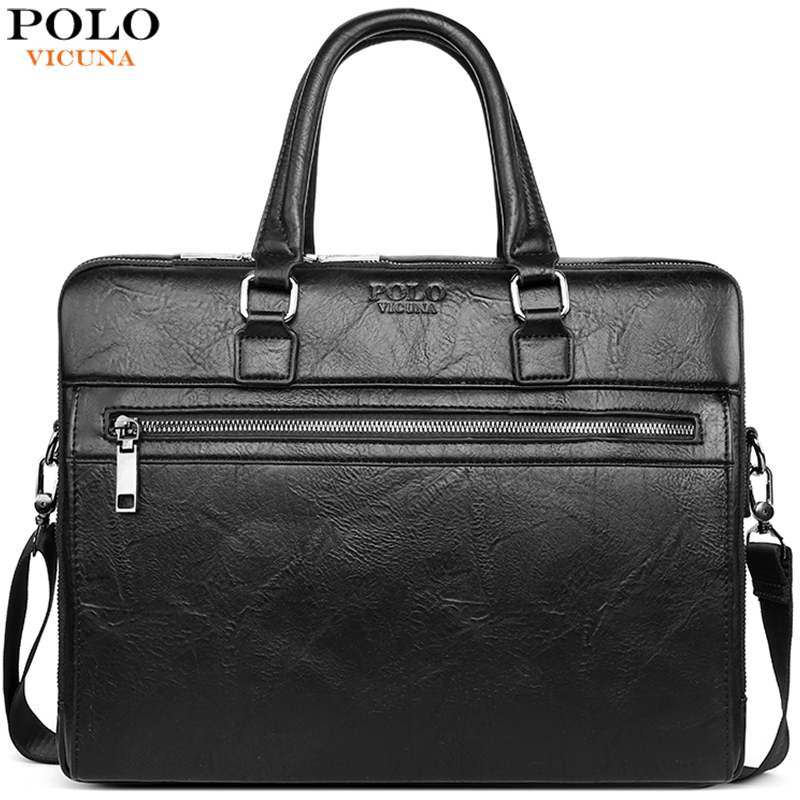 VICUNA POLO Business Leather Men Messenger Bags Office Attache Bag For Male Big Capacity Laptop Briefcase Bags Bolso Mujer