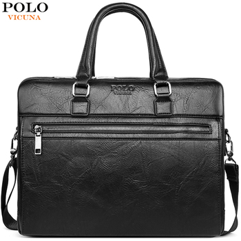VICUNA POLO Business Leather Men Messenger Bags Office Attache Bag For Male Big Capacity Laptop Briefcase bolso mujer