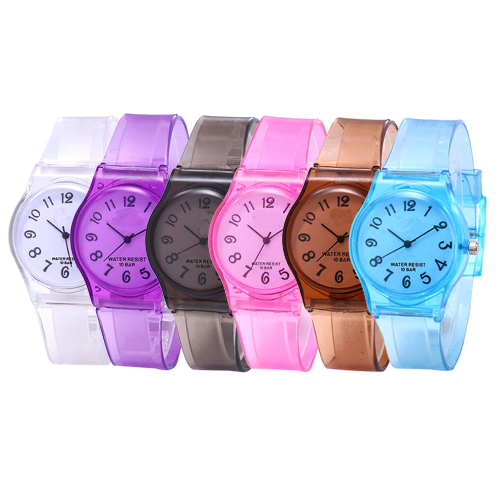 Boys Watches Girls Wristwatches 30M Waterproof Childrens Watches Casual Transparent Kids Round Clock Jelly Watch Lovers Gifts