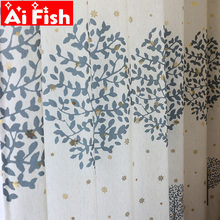 American Country Cotton Linen Green and Blue Printed Tree Blackout Bedroom Curtains Gold Snowflake Living Room Curtain M187#5(China)